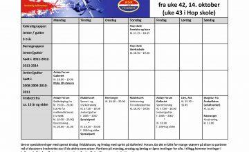 Treningsplan fra uke 42 (uke 43 i Hop Skole)